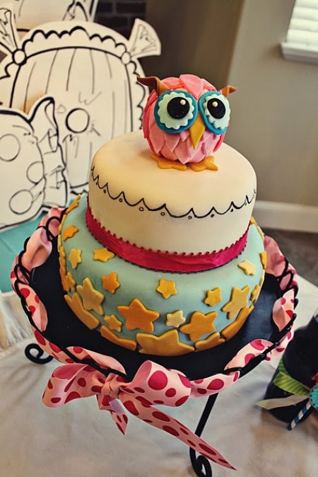 tarta de cumpleaños buho