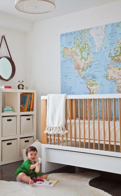 Decorar con mapas habitación bebé