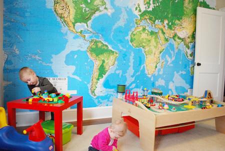 Decorar con mapas habitación niños