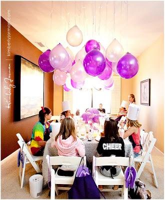 Decorar con globos colgantes pequeocio for Como hacer que los globos se queden en el techo