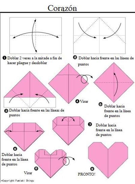 Corazón de origami