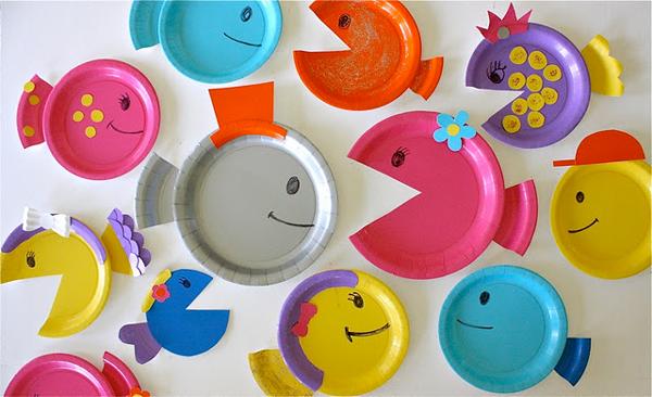 Manualidades infantiles peces de cartón
