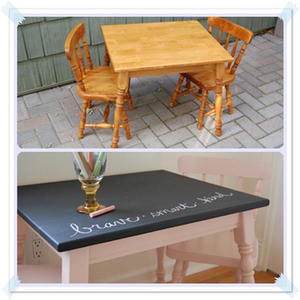 Antes y despu s de una mesa y sillas infantiles pequeocio for Mesas y sillas para ninas
