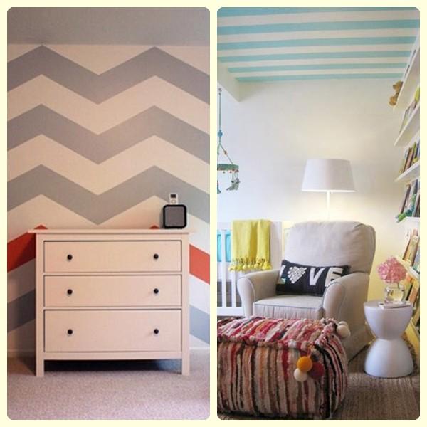 Empapelar la habitaci n del beb pequeocio - Habitaciones pintadas con rayas ...