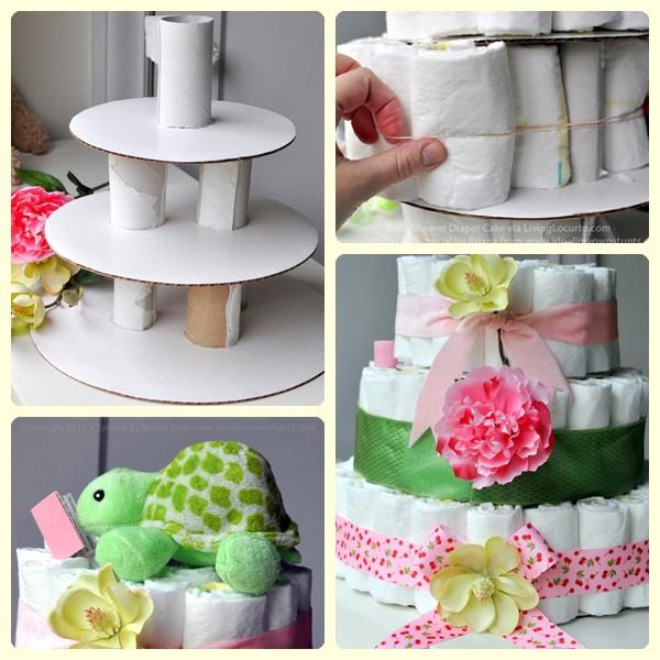 Manualidades infantiles: tarta de pañales
