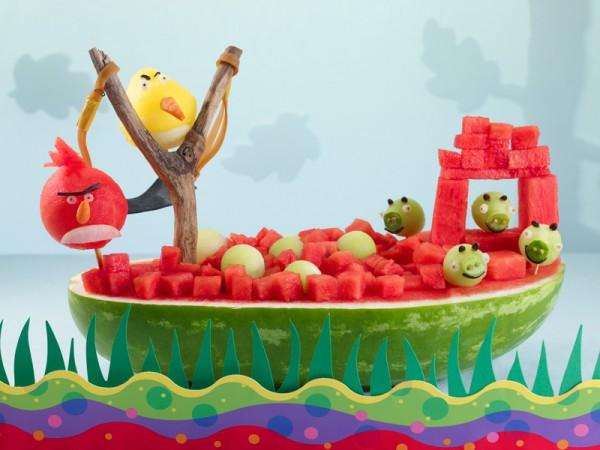 Postre Angry Birds sandía