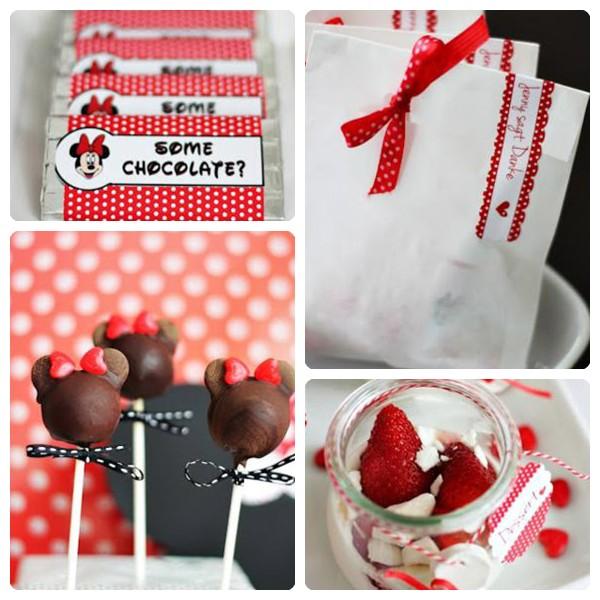 Paletas de chocolate en forma de Minnie Mouse y chocolatinas con un