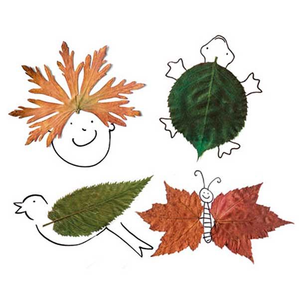 Dibujos con hojas de otoño