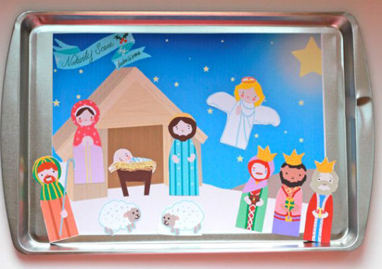 Recortable navideño gratis del portal de Belén 2