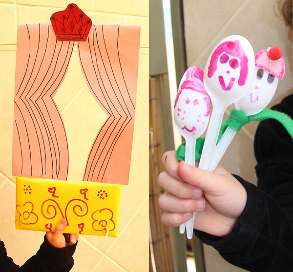 Marionetas con cucharas recicladas