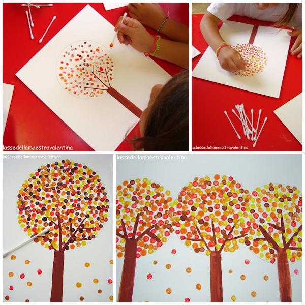 Pintar árboles Con Bastoncillos De Algodón Pequeociocom