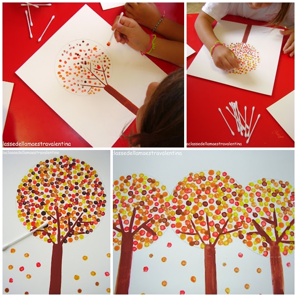 Pintar un arbol de otono con bastoncillos