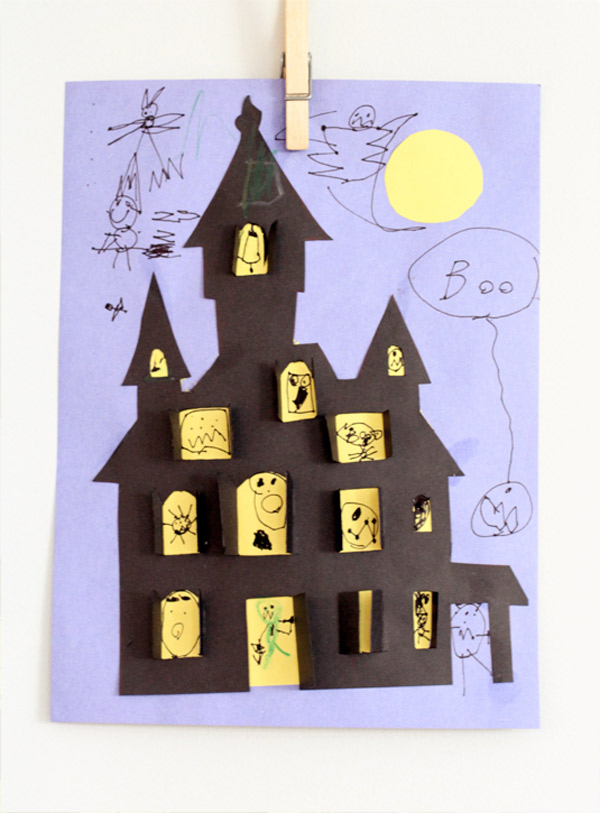 Manualidad infantil para halloween casa encantada pequeocio for Build a haunted house