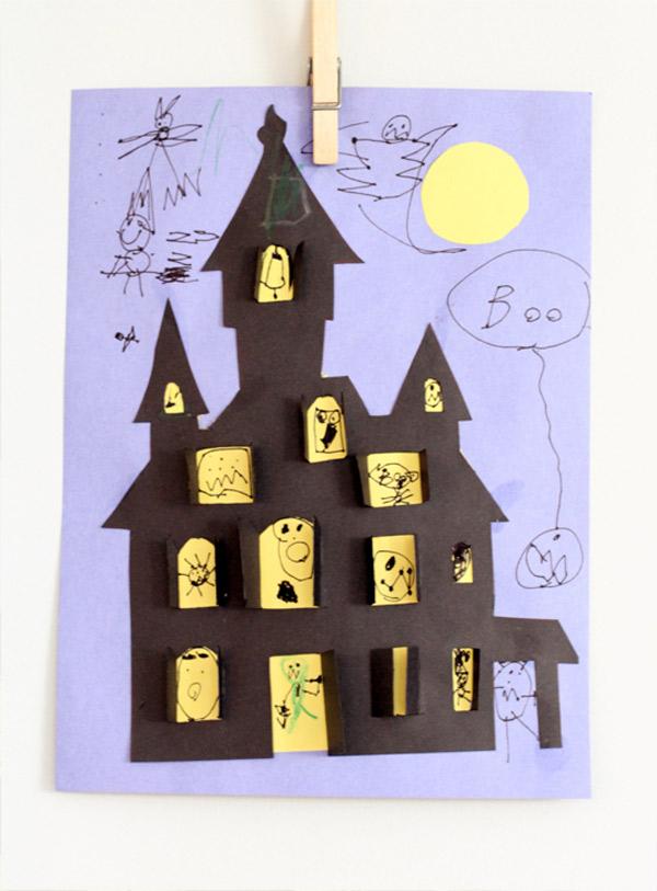 Manualidad infantil para halloween casa encantada for Bricolage per la casa