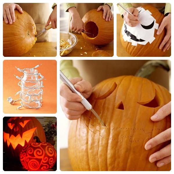 como hacer una calabaza de Halloween