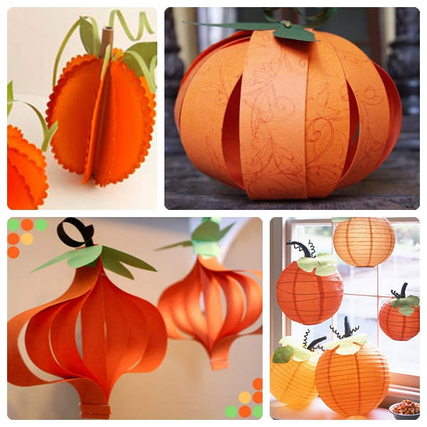 Ideas para hacer calabazas de papel pequeocio - Decorar calabaza halloween ninos ...