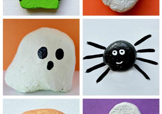 Manualidades para pintar piedras de Halloween 6