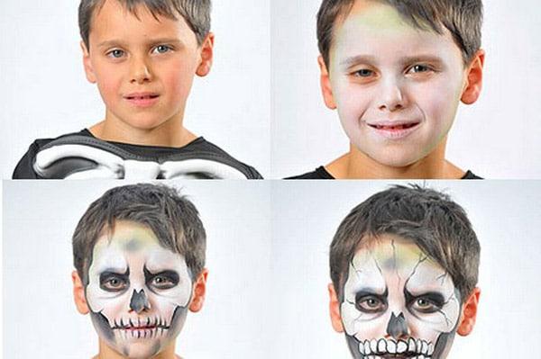 Maquillajes de Halloween: bruja, esqueleto y calabzada