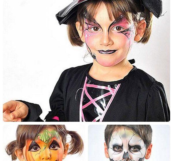 Maquillaje De Halloween Para Ninos Bruja Esqueleto Y Calabaza - Maquillaje-bruja-para-nia