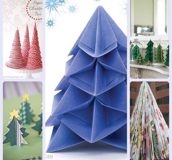 Decorar Arbol Navidad En Papel.5 Arboles De Navidad De Papel Faciles De Hacer Pequeocio Com