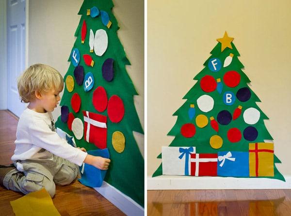Un rbol de navidad en fieltro qu divertido pequeocio - Arbol de navidad de pared ...
