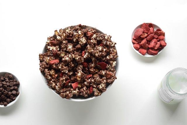 palomitas dulces con fruta desecada
