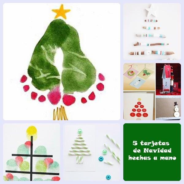 5 tarjetas de navidad hechas a mano pequeocio - Tarjeta de navidad manualidades ...