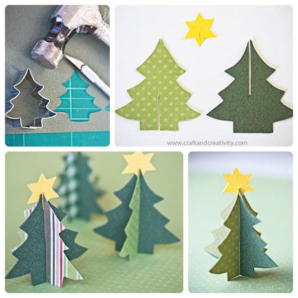 Molde de arbol de navidad en papel