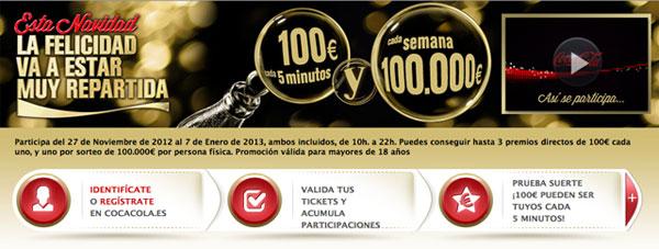 promoción Coca Cola 100 euros