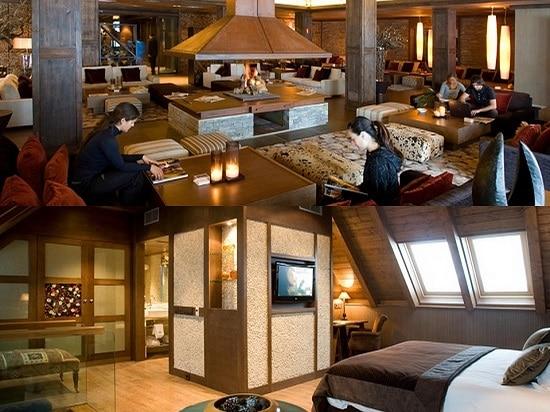Hotel Val de Neu habitacion y hall con chimenea