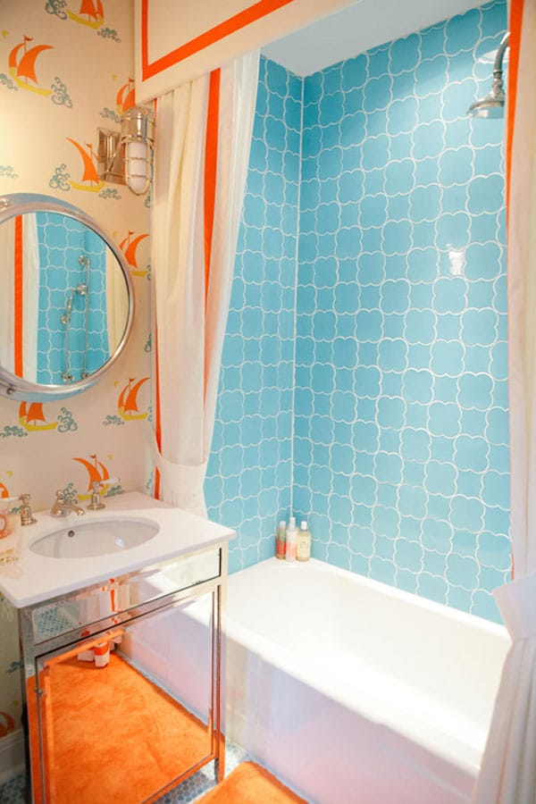 Ideas Baño Para Ninos:Orange and Blue Bathroom Ideas