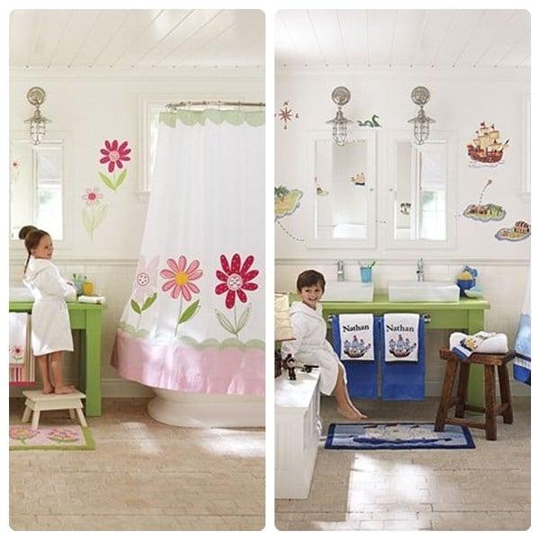 12 ideas para decorar ba os infantiles pequeocio - Cuadros cuarto de bano ...