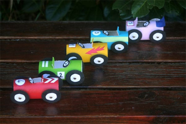Toilet Paper Roll Race Cars