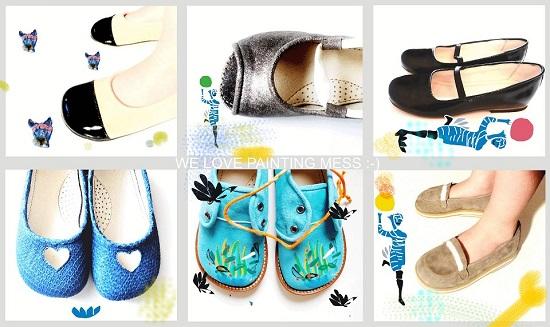 Moda infantil y calzado para niños pintado a mano.
