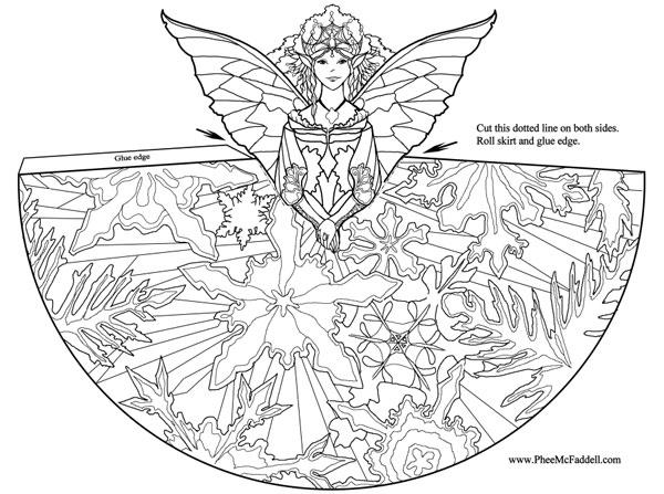Dibujo para colorear de un hada Origami de un hada