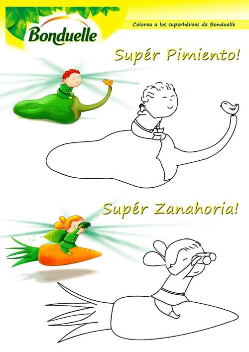 dibujos para colorear verduras