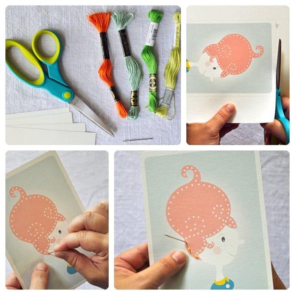Manualidad infantil para aprender a coser