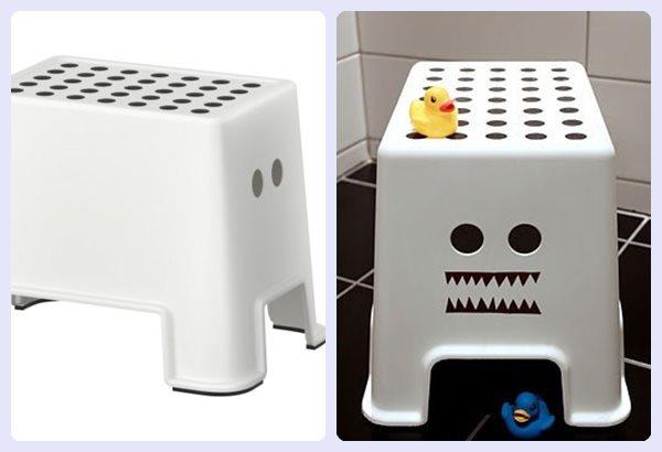 Taburete Baño Infantil:Decoración de baños infantiles: Ikea Hack de un taburete