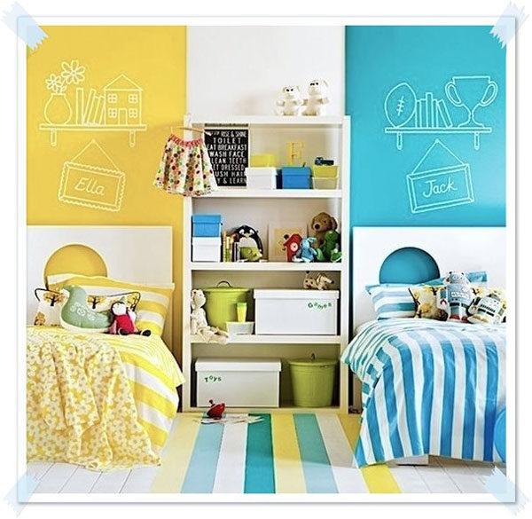 C mo decorar habitaciones compartidas por un ni o y una ni a - Organizar habitacion ninos ...