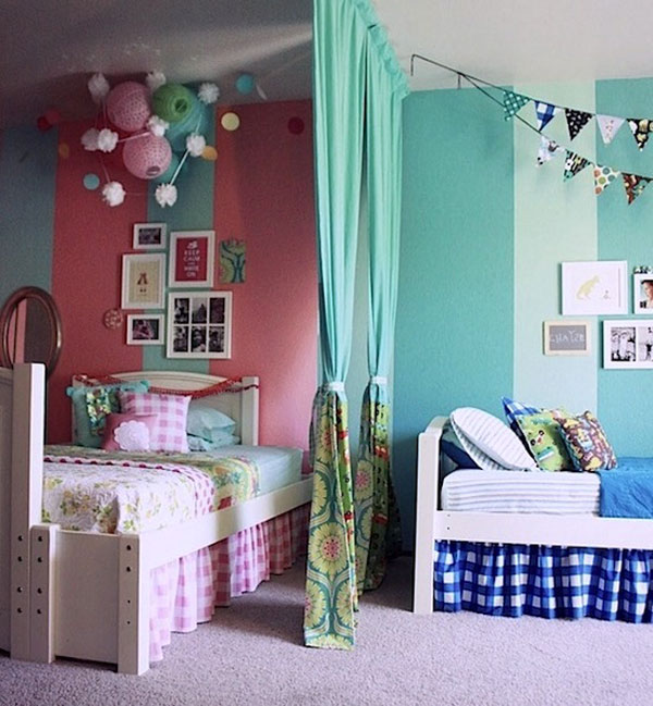 C mo decorar habitaciones compartidas por un ni o y una ni a for Habitacion juvenil nina