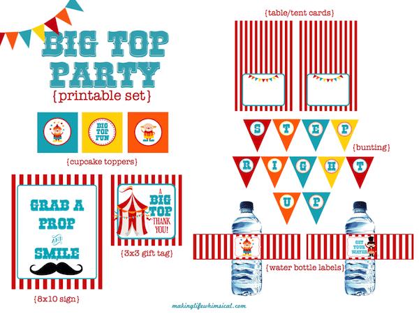 10 imprimibles gratis para una fiesta de circo - Pequeocio