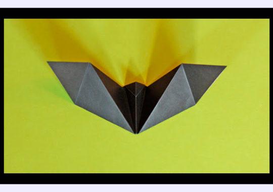 Murciélago de origami fácil para Halloween 1