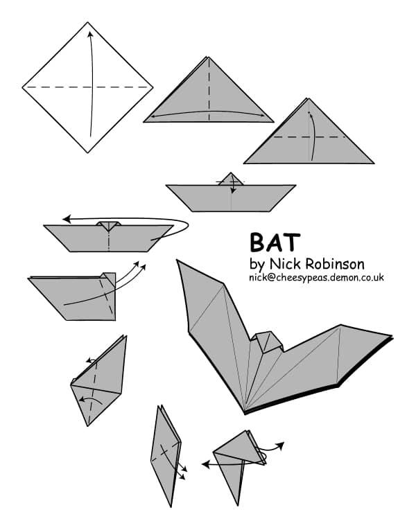 Murciélago de origami fácil para Halloween
