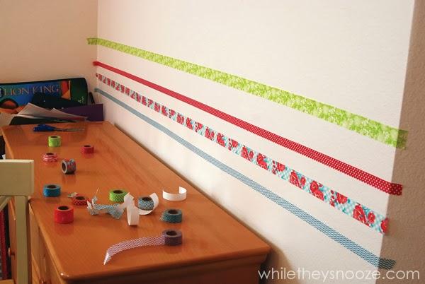 Una pared divertida decorada con Washi Tape