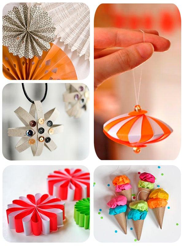 5 adornos caseros de papel para el rbol de navidad for Decoracion navidena con papel