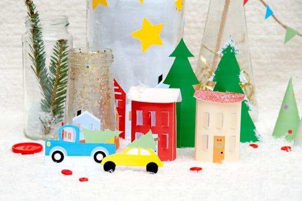 aldea de navidad recortable