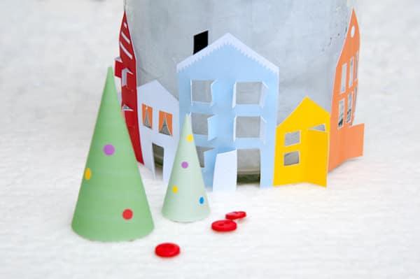 adorno de navidad, una aldea para imprimir gratis