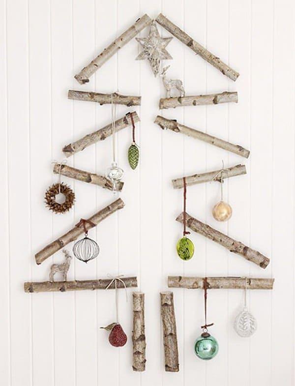 arbol de navidad de pared con troncos