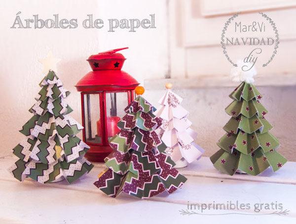 Árboles de Navidad de papel para imprimir gratis - Pequeocio