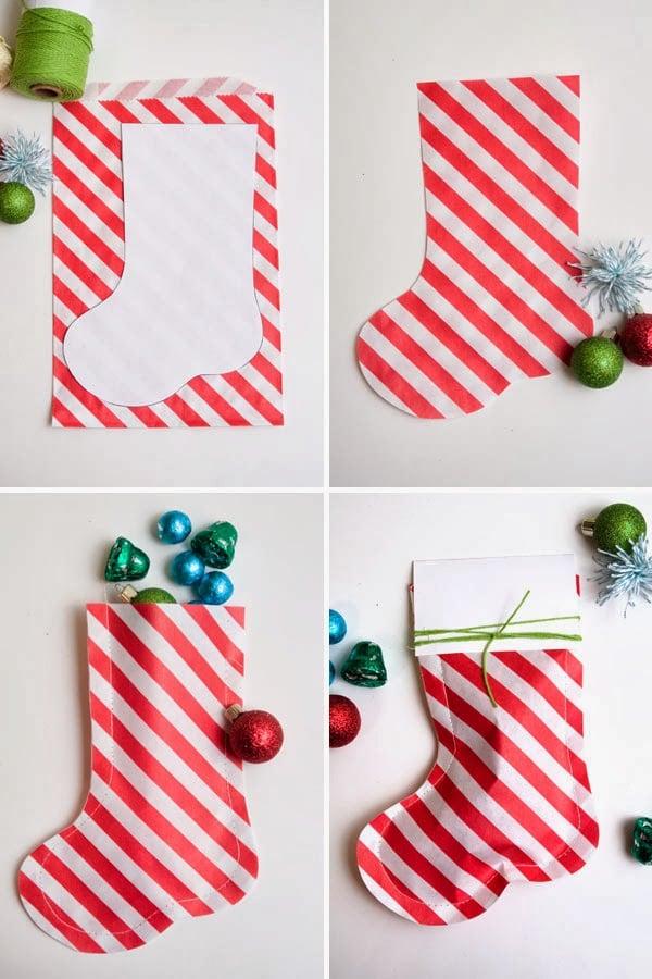 paso a paso para hacer calcetines navideños de papel